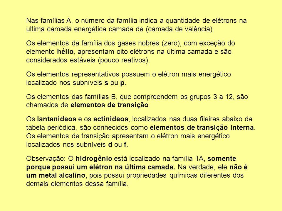 Nas famílias A, o número da família indica a quantidade de elétrons na ultima camada energética camada de (camada de valência). Os elementos da famíli