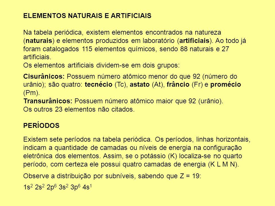 ELEMENTOS NATURAIS E ARTIFICIAIS Na tabela periódica, existem elementos encontrados na natureza (naturais) e elementos produzidos em laboratório (arti