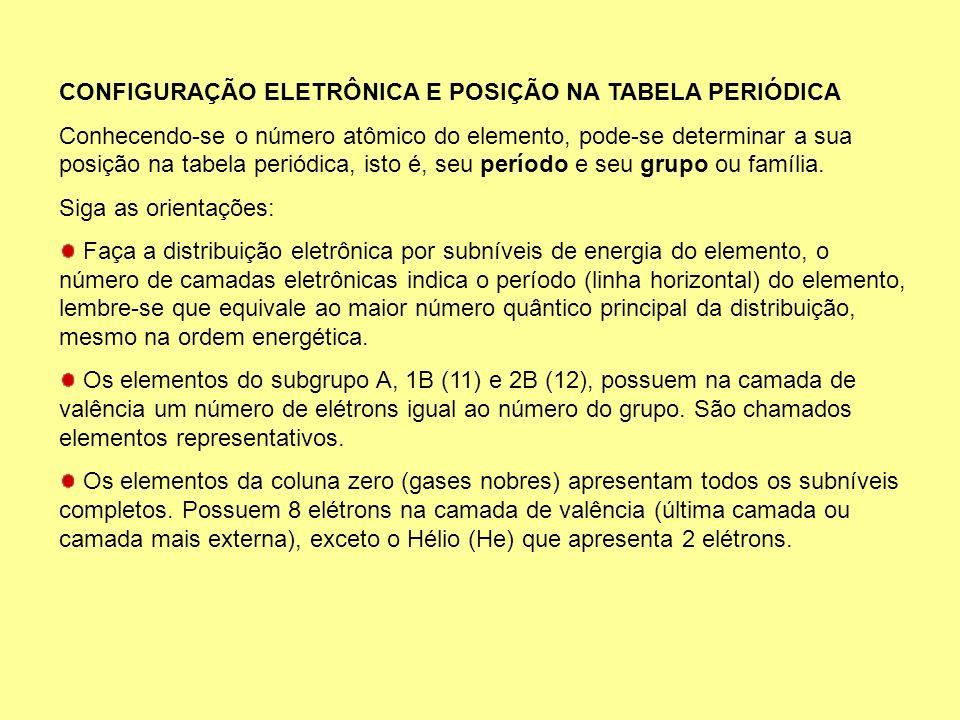 CONFIGURAÇÃO ELETRÔNICA E POSIÇÃO NA TABELA PERIÓDICA Conhecendo-se o número atômico do elemento, pode-se determinar a sua posição na tabela periódica
