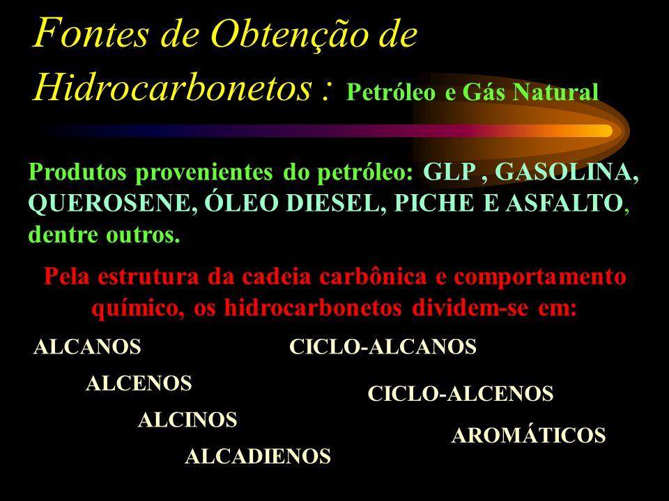 Fon tes de Obtenção de Hidrocarbonetos : Petróleo e Gás Natural Produtos provenientes do petróleo: GLP, GASOLINA, QUEROSENE, ÓLEO DIESEL, PICHE E ASFALTO, dentre outros.