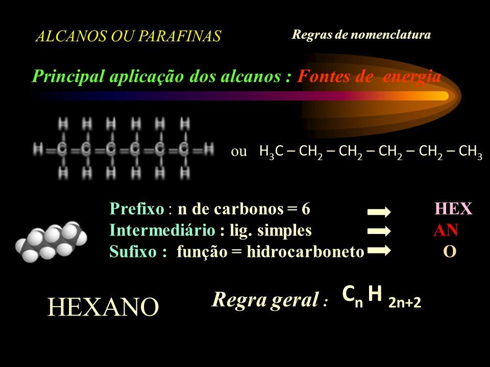 ALCANOS OU PARAFINAS Principal aplicação dos alcanos : Fontes de energia Regras de nomenclatura ou H 3 C – CH 2 – CH 2 – CH 2 – CH 2 – CH 3 Prefixo : n de carbonos = 6 HEX Intermediário : lig.