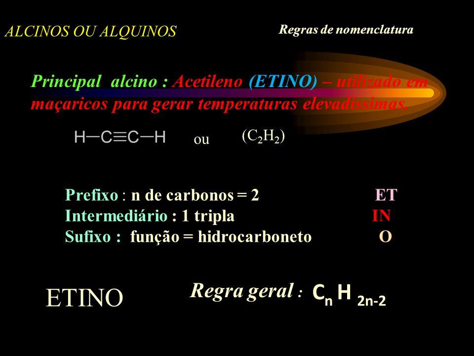 ALCINOS OU ALQUINOS Regras de nomenclatura Principal alcino : Acetileno (ETINO) – utilizado em maçaricos para gerar temperaturas elevadíssimas.