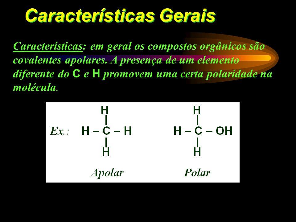 Características Gerais Ponto de fusão e ebulição: inferiores aos compostos inorgânicos, a maioria apresenta instabilidade térmica. Isomeria: compostos