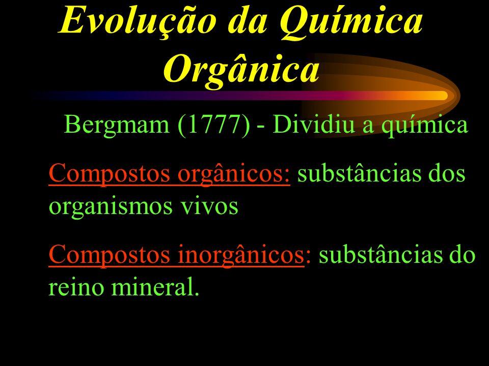 Evolução da Química Orgânica Bergmam (1777) - Dividiu a química Compostos orgânicos: substâncias dos organismos vivos Compostos inorgânicos: substâncias do reino mineral.