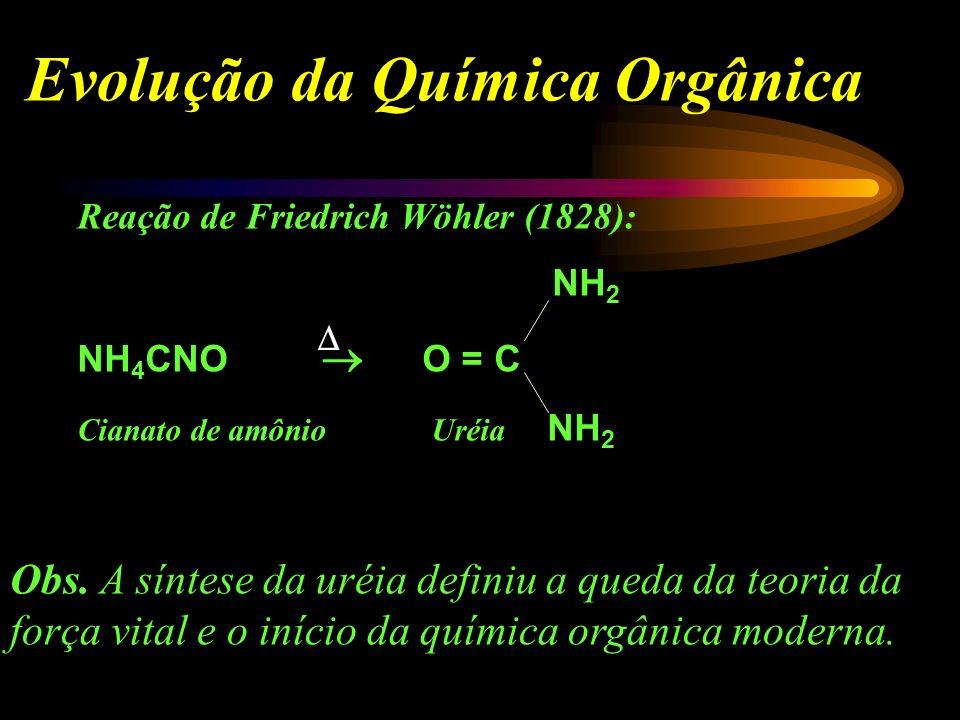 Evoluçaõ da Química Orgânica Berzelius início do século XIX Teoria da Força Vital Força maior para serem sintetizados