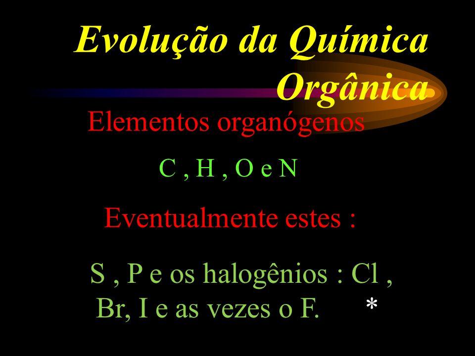 Evolução da Química Orgânica Elementos organógenos C, H, O e N Eventualmente estes : S, P e os halogênios : Cl, Br, I e as vezes o F.
