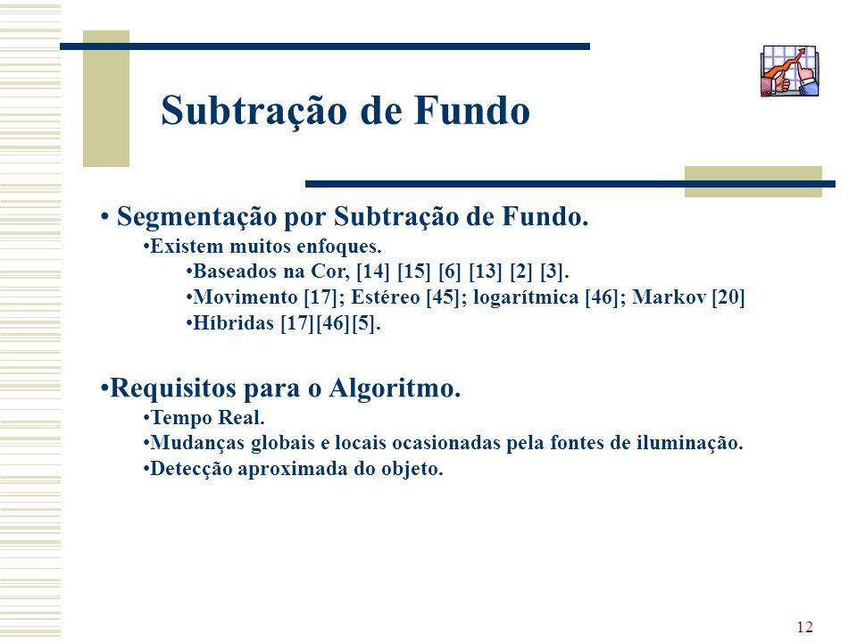 12 Subtração de Fundo Segmentação por Subtração de Fundo. Existem muitos enfoques. Baseados na Cor, [14] [15] [6] [13] [2] [3]. Movimento [17]; Estére