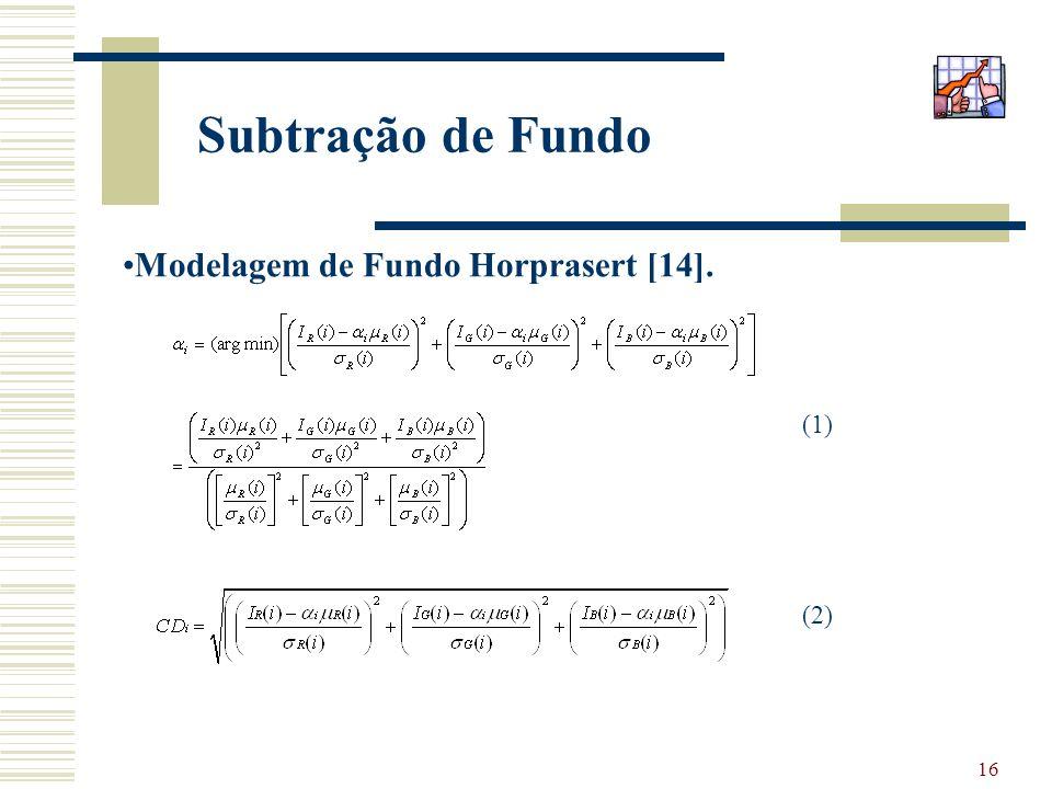 16 Subtração de Fundo Modelagem de Fundo Horprasert [14]. (1) (2)