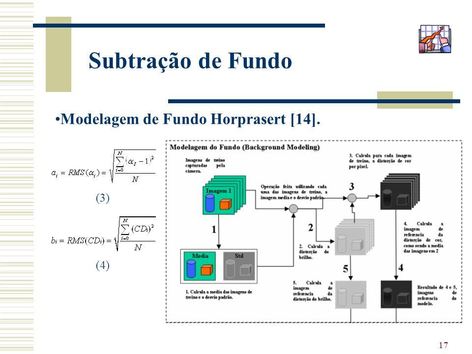 17 Subtração de Fundo Modelagem de Fundo Horprasert [14]. (3) (4)