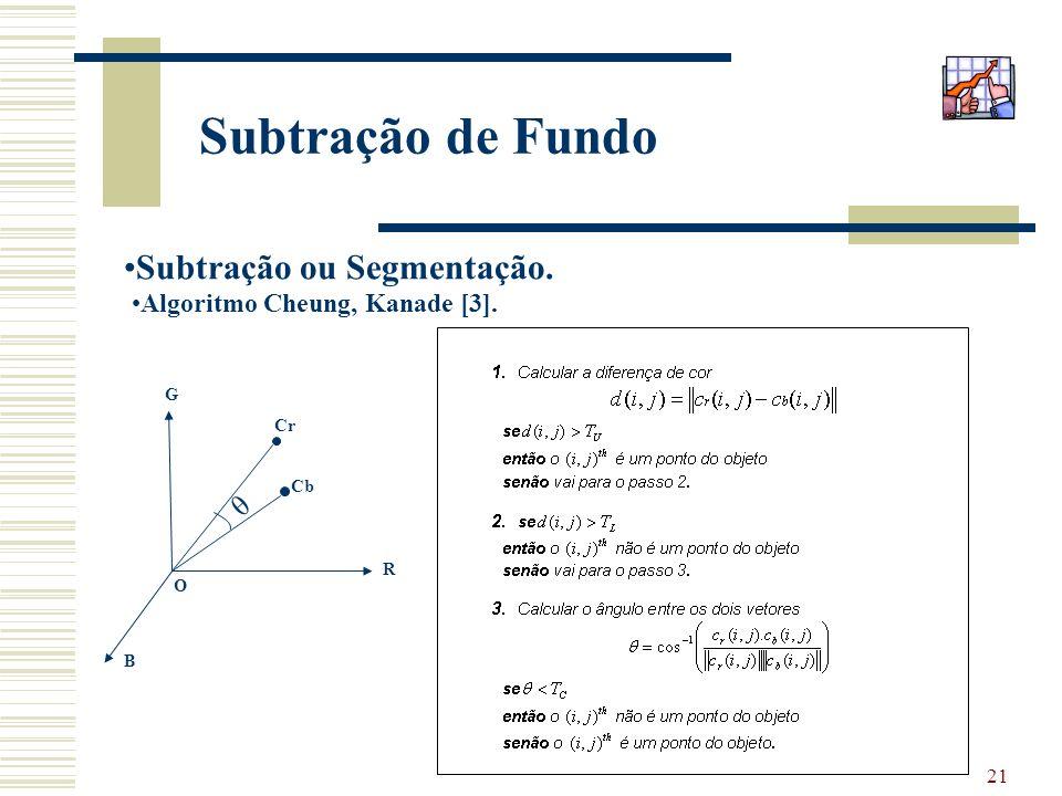 21 Subtração de Fundo Subtração ou Segmentação. Algoritmo Cheung, Kanade [3]. θ Cr Cb R B G O