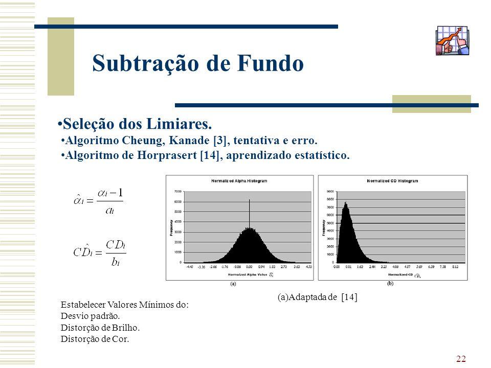 22 Subtração de Fundo Seleção dos Limiares. Algoritmo Cheung, Kanade [3], tentativa e erro. Algoritmo de Horprasert [14], aprendizado estatístico. (a)