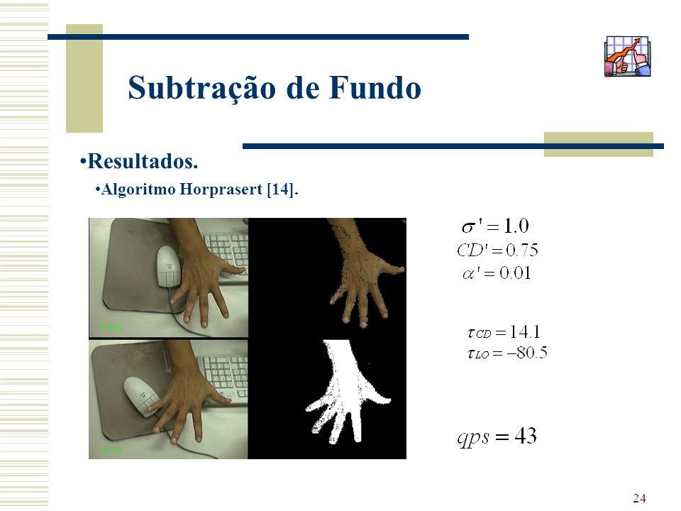 24 Subtração de Fundo Resultados. Algoritmo Horprasert [14].