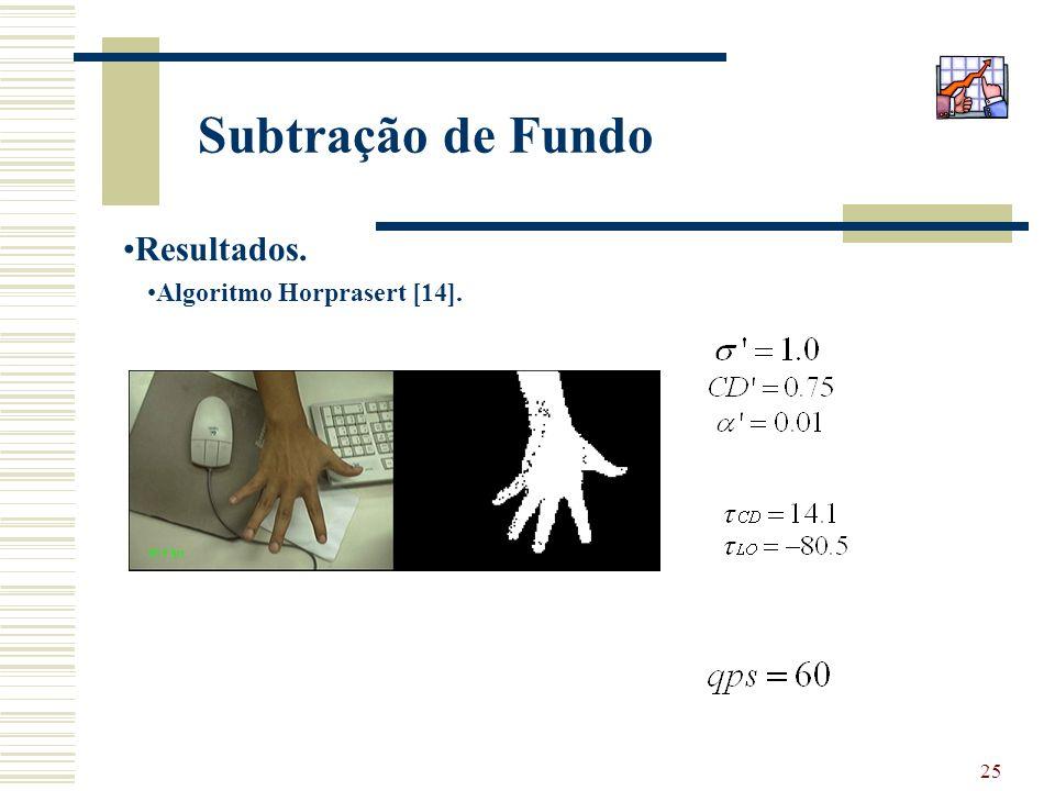 25 Subtração de Fundo Resultados. Algoritmo Horprasert [14].