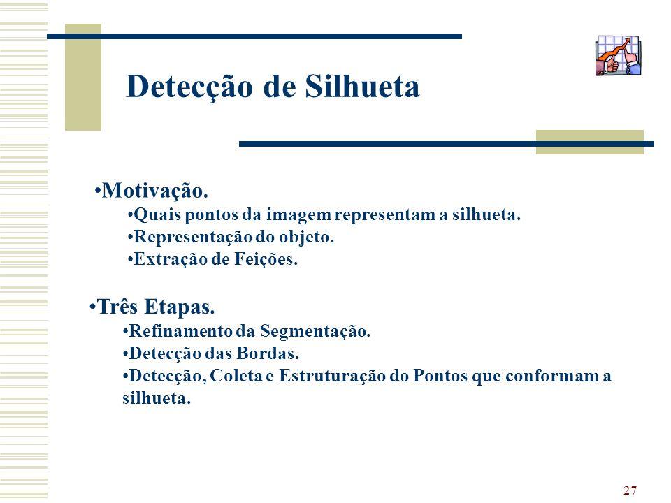 27 Detecção de Silhueta Motivação. Quais pontos da imagem representam a silhueta. Representação do objeto. Extração de Feições. Três Etapas. Refinamen