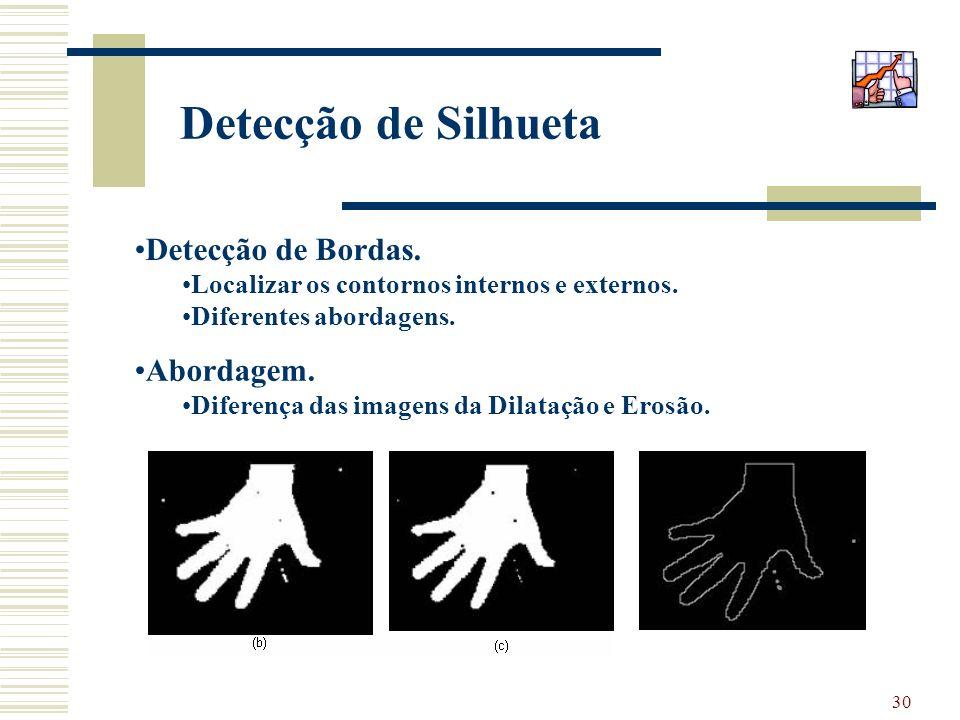 30 Detecção de Silhueta Detecção de Bordas. Localizar os contornos internos e externos. Diferentes abordagens. Abordagem. Diferença das imagens da Dil