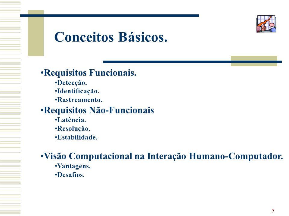 5 Conceitos Básicos. Requisitos Funcionais. Detecção. Identificação. Rastreamento. Requisitos Não-Funcionais Latência. Resolução. Estabilidade. Visão