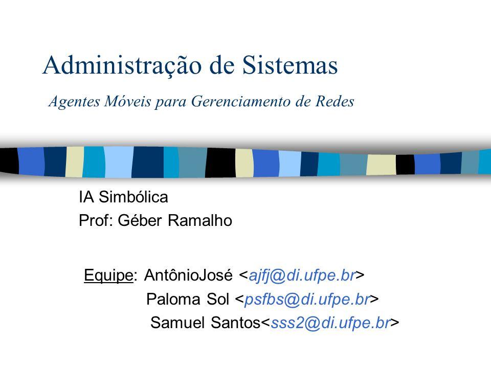 Administração de Sistemas Agentes Móveis para Gerenciamento de Redes IA Simbólica Prof: Géber Ramalho Equipe: AntônioJosé Paloma Sol Samuel Santos