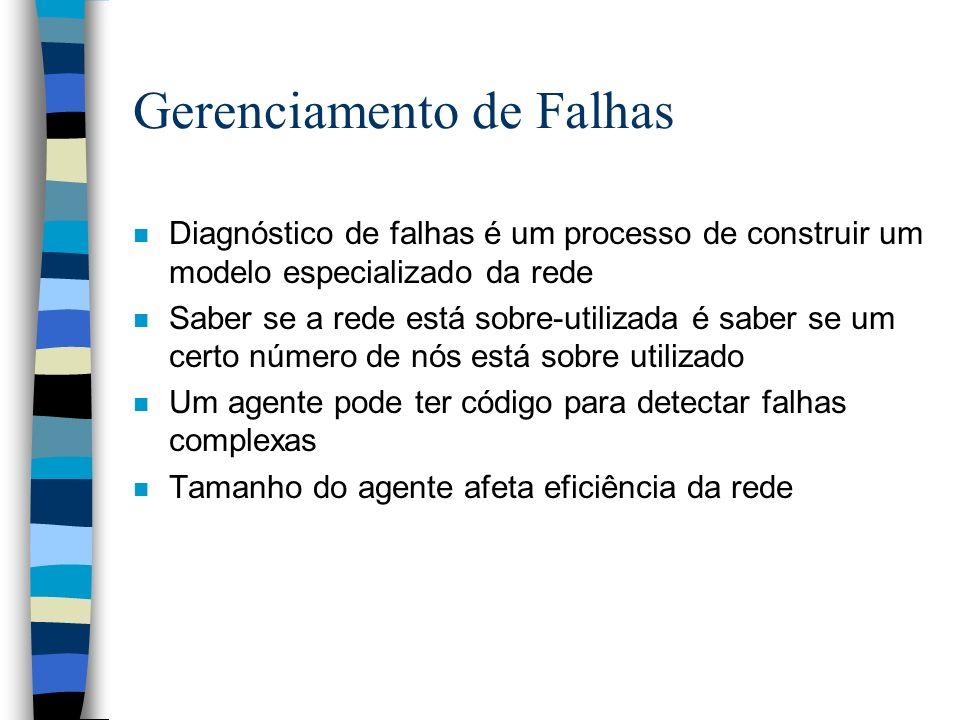 Gerenciamento de Falhas n Diagnóstico de falhas é um processo de construir um modelo especializado da rede n Saber se a rede está sobre-utilizada é sa