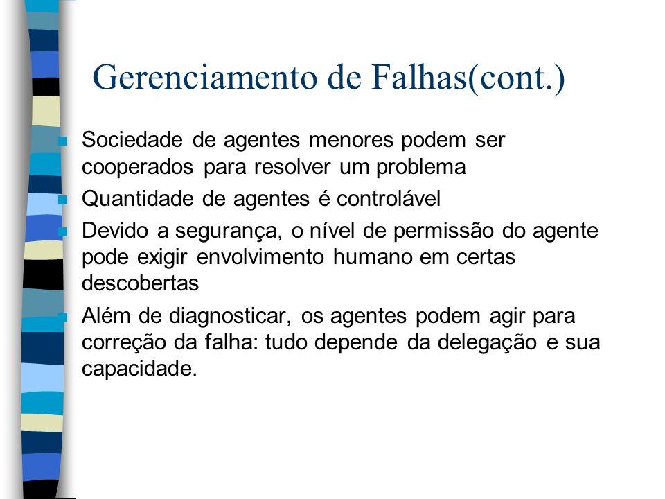 Gerenciamento de Falhas(cont.) n Sociedade de agentes menores podem ser cooperados para resolver um problema n Quantidade de agentes é controlável n D