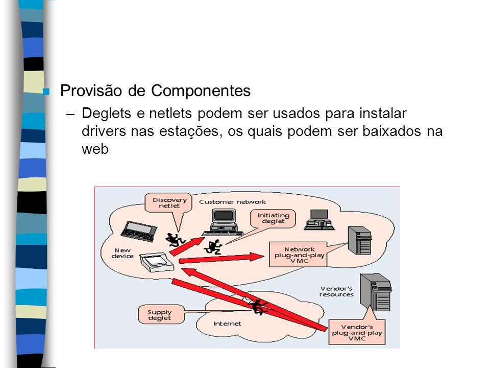 n Provisão de Componentes –Deglets e netlets podem ser usados para instalar drivers nas estações, os quais podem ser baixados na web