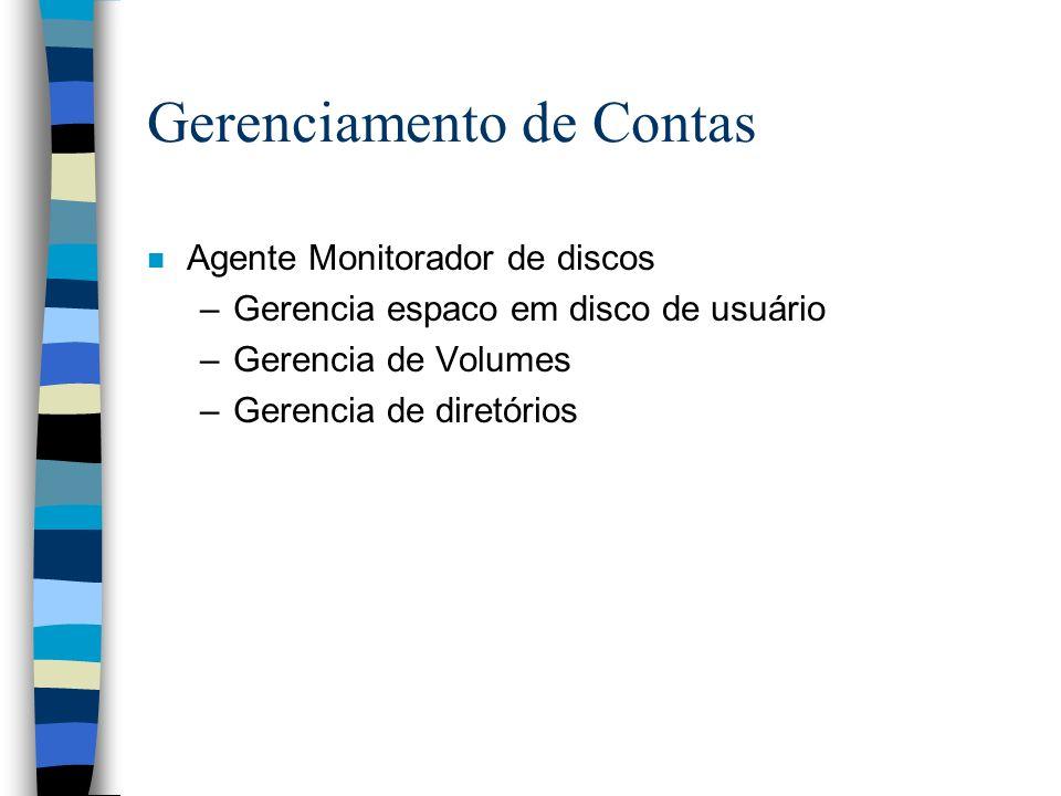 Gerenciamento de Contas n Agente Monitorador de discos –Gerencia espaco em disco de usuário –Gerencia de Volumes –Gerencia de diretórios