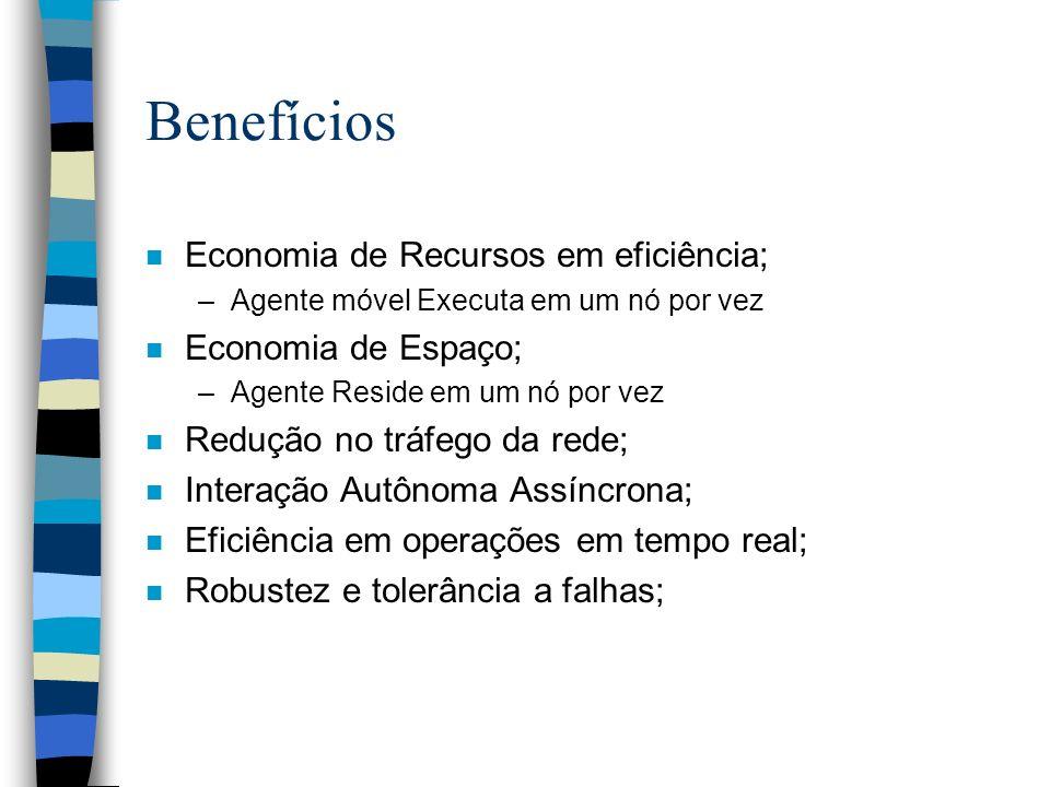 Benefícios n Economia de Recursos em eficiência; –Agente móvel Executa em um nó por vez n Economia de Espaço; –Agente Reside em um nó por vez n Reduçã