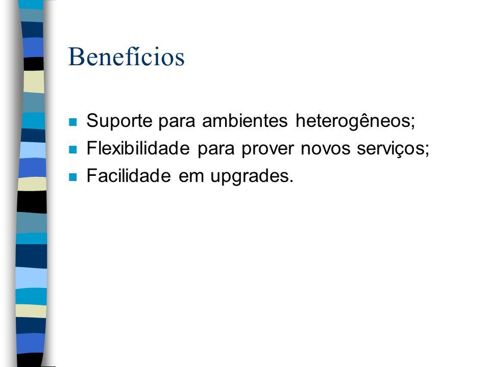 Benefícios n Suporte para ambientes heterogêneos; n Flexibilidade para prover novos serviços; n Facilidade em upgrades.