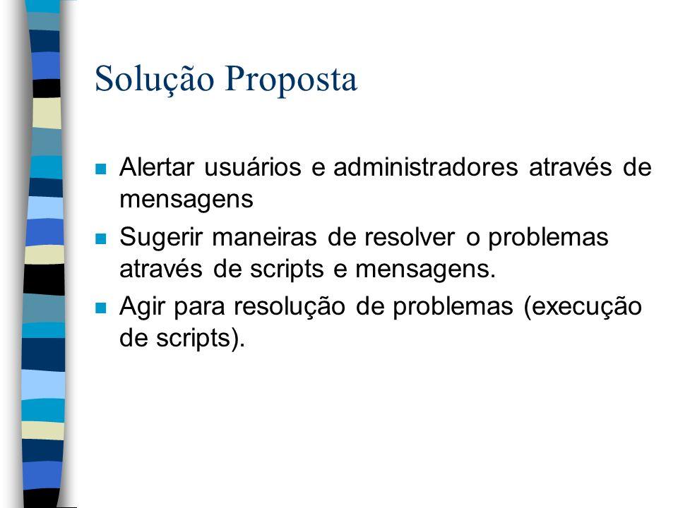Solução Proposta n Alertar usuários e administradores através de mensagens n Sugerir maneiras de resolver o problemas através de scripts e mensagens.