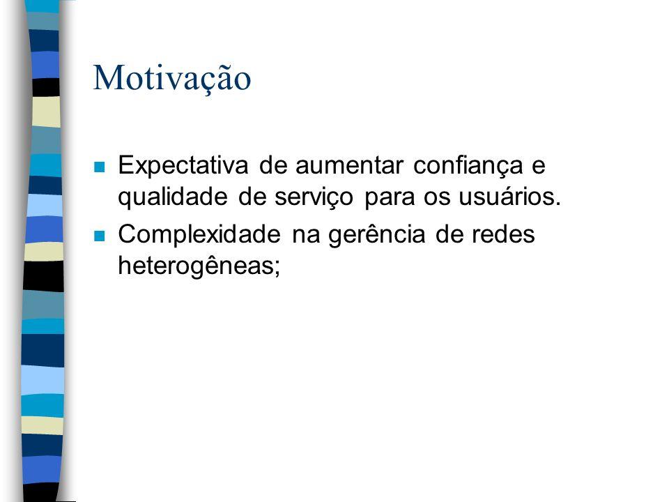 Motivação n Expectativa de aumentar confiança e qualidade de serviço para os usuários.