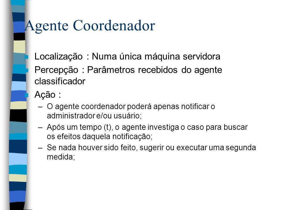 Agente Coordenador n Localização : Numa única máquina servidora n Percepção : Parâmetros recebidos do agente classificador n Ação : –O agente coordena