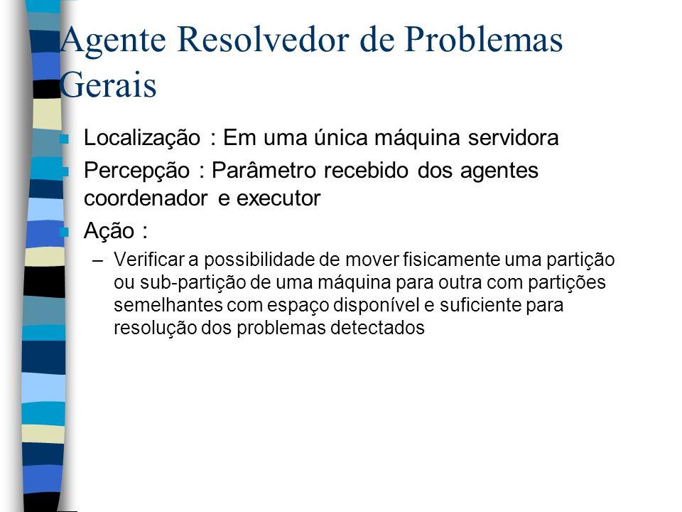 Agente Resolvedor de Problemas Gerais n Localização : Em uma única máquina servidora n Percepção : Parâmetro recebido dos agentes coordenador e execut