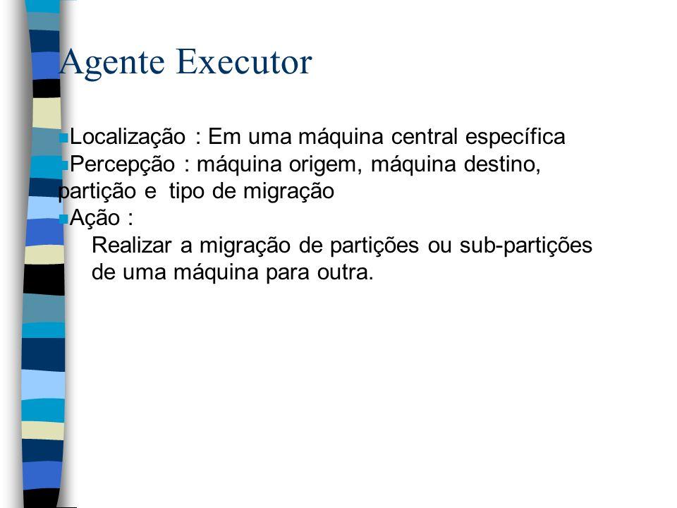 n Localização : Em uma máquina central específica n Percepção : máquina origem, máquina destino, partição e tipo de migração n Ação : Realizar a migração de partições ou sub-partições de uma máquina para outra.