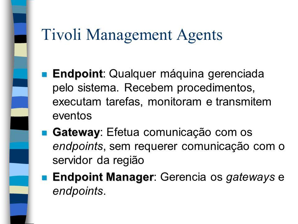 Tivoli Management Agents n Endpoint n Endpoint: Qualquer máquina gerenciada pelo sistema. Recebem procedimentos, executam tarefas, monitoram e transmi