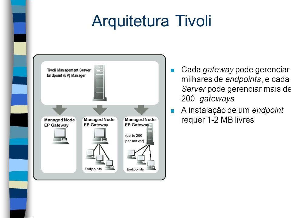 Arquitetura Tivoli n Cada gateway pode gerenciar milhares de endpoints, e cada Server pode gerenciar mais de 200 gateways n A instalação de um endpoint requer 1-2 MB livres