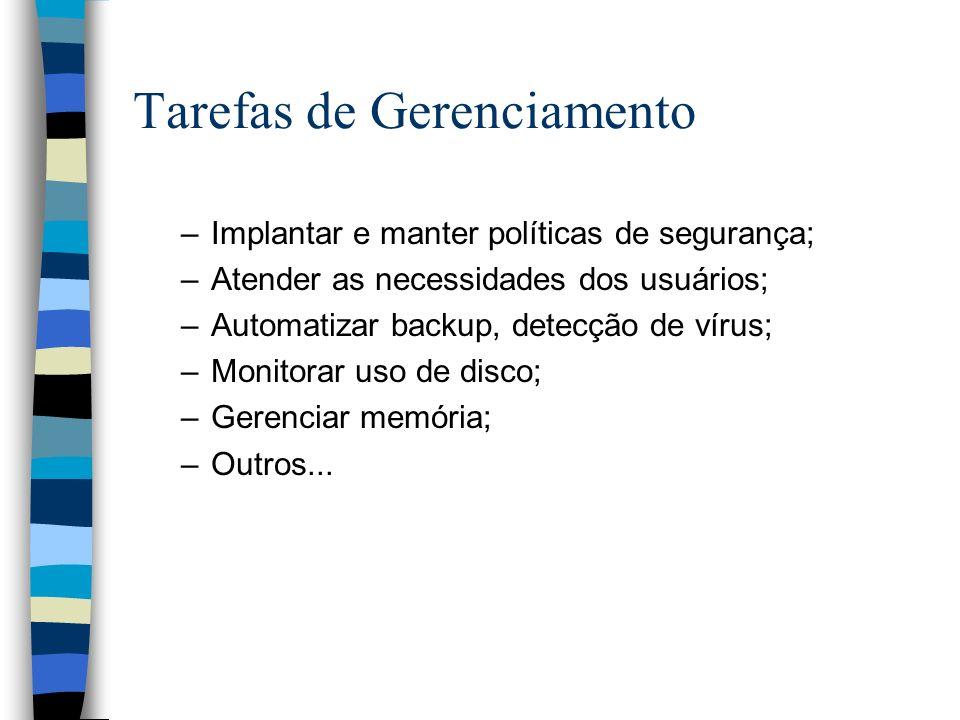 Tarefas de Gerenciamento –Implantar e manter políticas de segurança; –Atender as necessidades dos usuários; –Automatizar backup, detecção de vírus; –Monitorar uso de disco; –Gerenciar memória; –Outros...