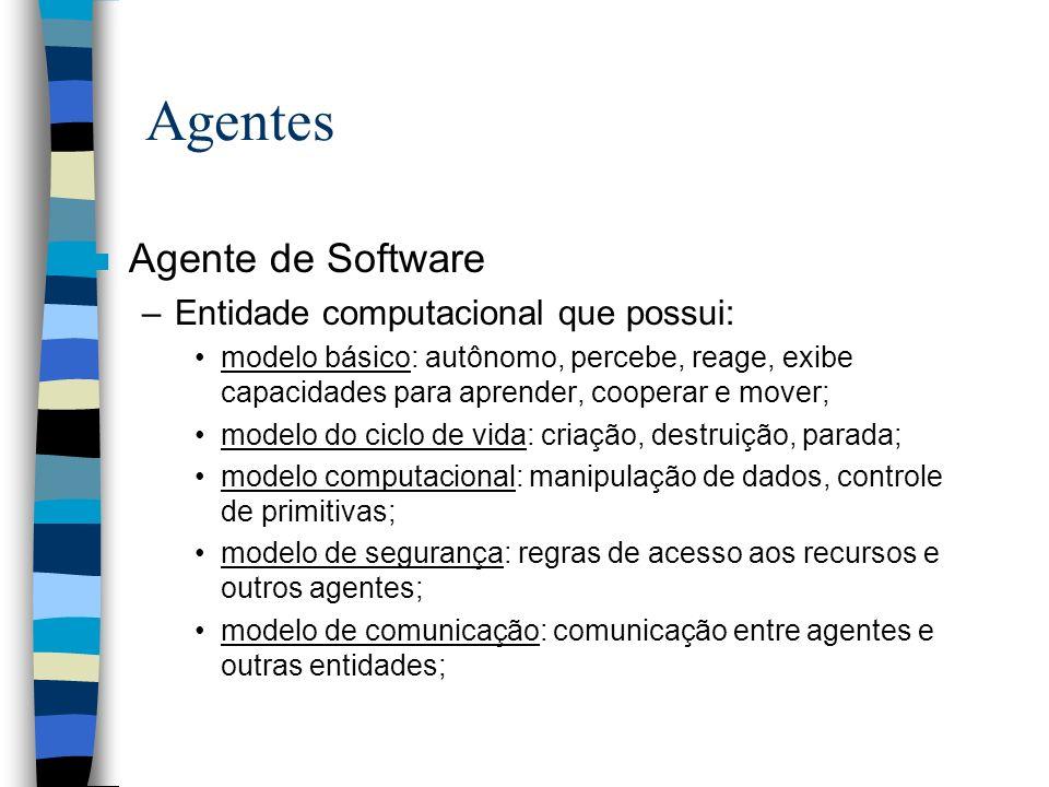 Agentes n Agente de Software –Entidade computacional que possui: modelo básico: autônomo, percebe, reage, exibe capacidades para aprender, cooperar e