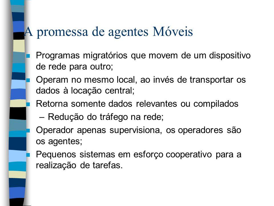 A promessa de agentes Móveis n Programas migratórios que movem de um dispositivo de rede para outro; n Operam no mesmo local, ao invés de transportar