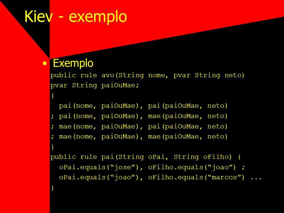 Kiev - exemplo Exemplo public rule avo(String nome, pvar String neto) pvar String paiOuMae; { pai(nome, paiOuMae), pai(paiOuMae, neto) ; pai(nome, pai