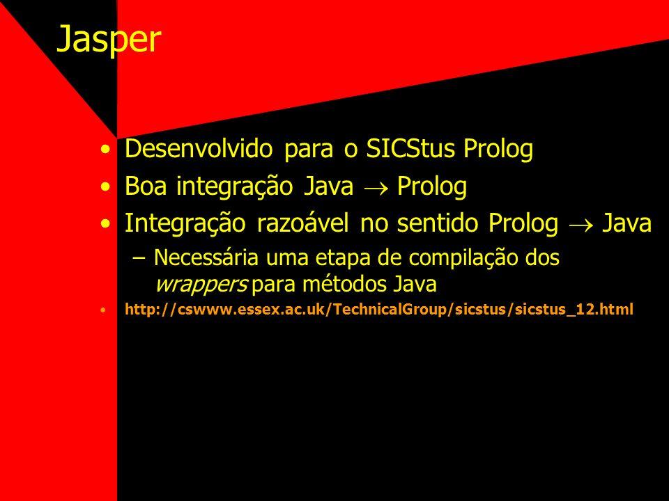 Jasper Desenvolvido para o SICStus Prolog Boa integração Java Prolog Integração razoável no sentido Prolog Java –Necessária uma etapa de compilação do