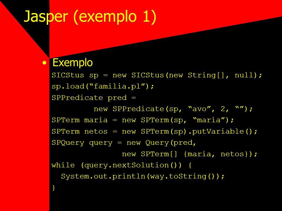 Jasper (exemplo 1) Exemplo SICStus sp = new SICStus(new String[], null); sp.load(familia.pl); SPPredicate pred = new SPPredicate(sp, avo, 2, ); SPTerm