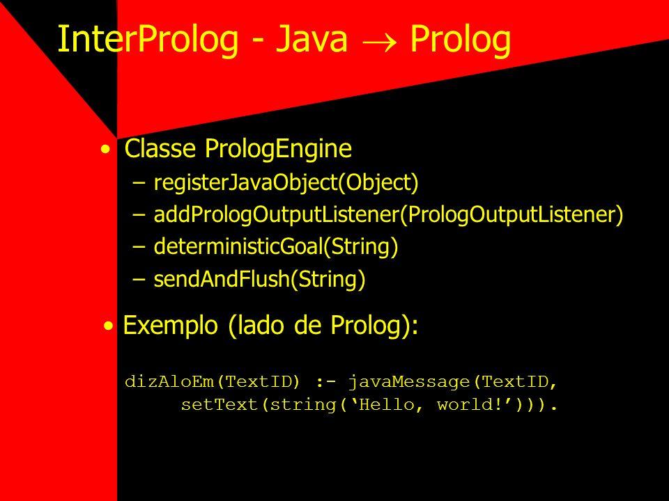 InterProlog - Java Prolog Classe PrologEngine –registerJavaObject(Object) –addPrologOutputListener(PrologOutputListener) –deterministicGoal(String) –s