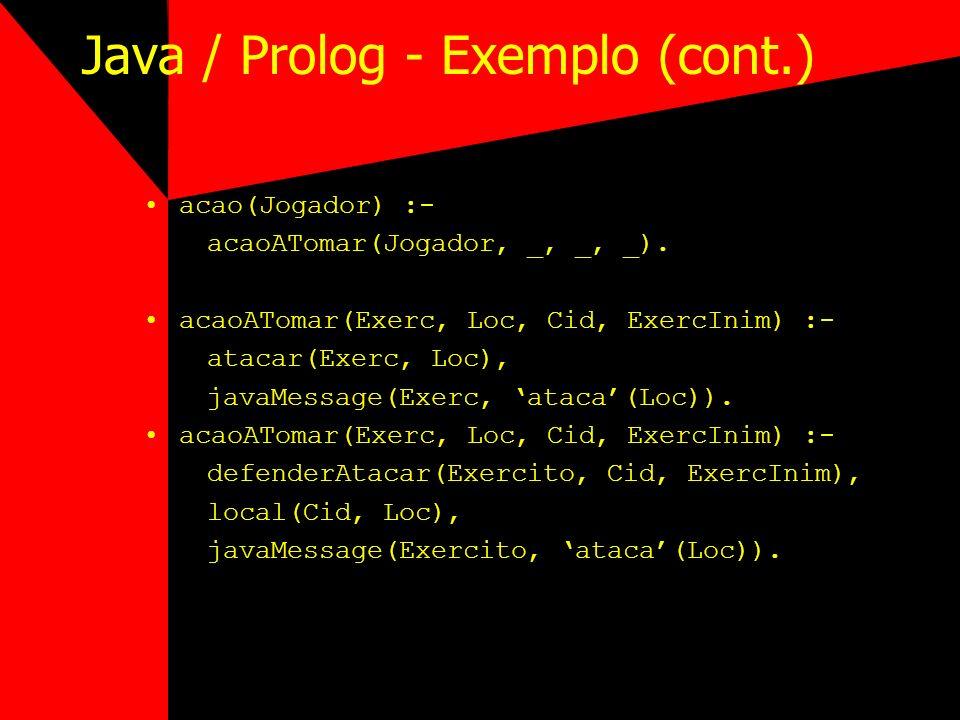 Java / Prolog - Exemplo (cont.) acao(Jogador) :- acaoATomar(Jogador, _, _, _). acaoATomar(Exerc, Loc, Cid, ExercInim) :- atacar(Exerc, Loc), javaMessa
