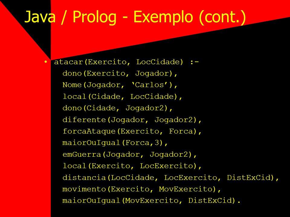 Java / Prolog - Exemplo (cont.) atacar(Exercito, LocCidade) :- dono(Exercito, Jogador), Nome(Jogador, Carlos), local(Cidade, LocCidade), dono(Cidade,