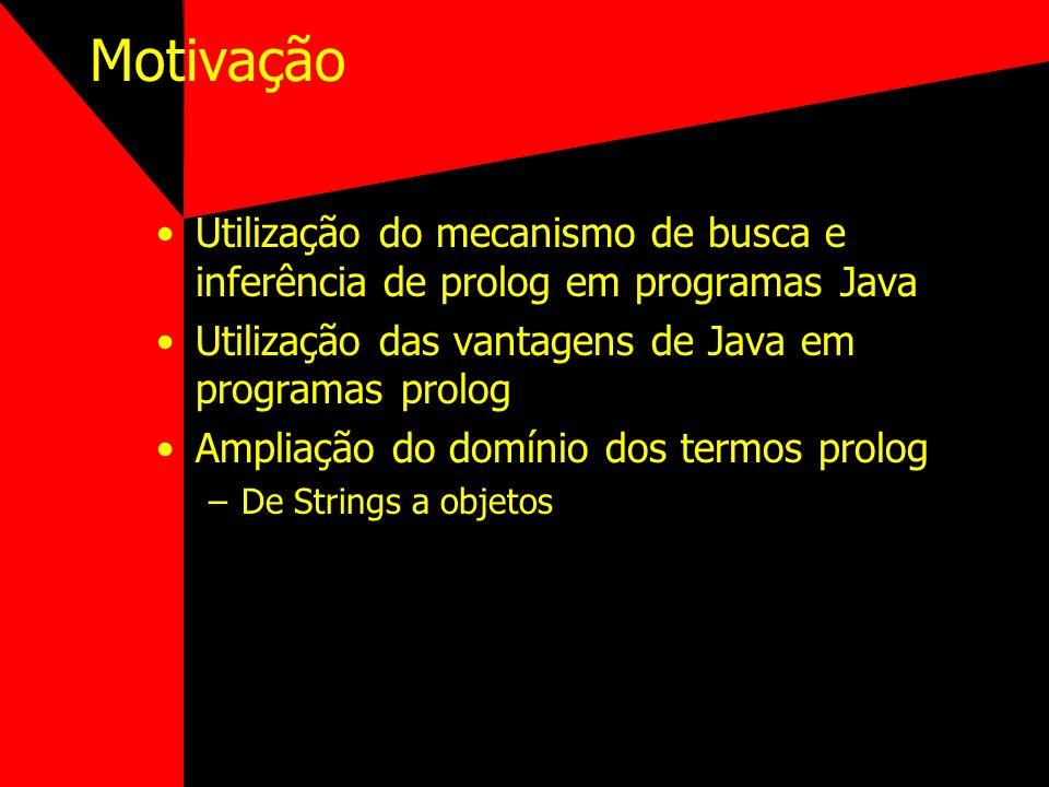 InterProlog - Java Prolog Classe PrologEngine –registerJavaObject(Object) –addPrologOutputListener(PrologOutputListener) –deterministicGoal(String) –sendAndFlush(String) Exemplo (lado de Prolog): dizAloEm(TextID) :- javaMessage(TextID, setText(string(Hello, world!))).