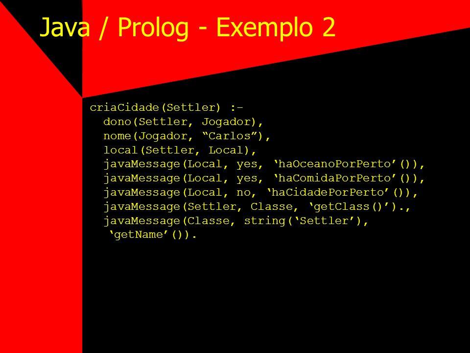 Java / Prolog - Exemplo 2 criaCidade(Settler) :- dono(Settler, Jogador), nome(Jogador, Carlos), local(Settler, Local), javaMessage(Local, yes, haOcean