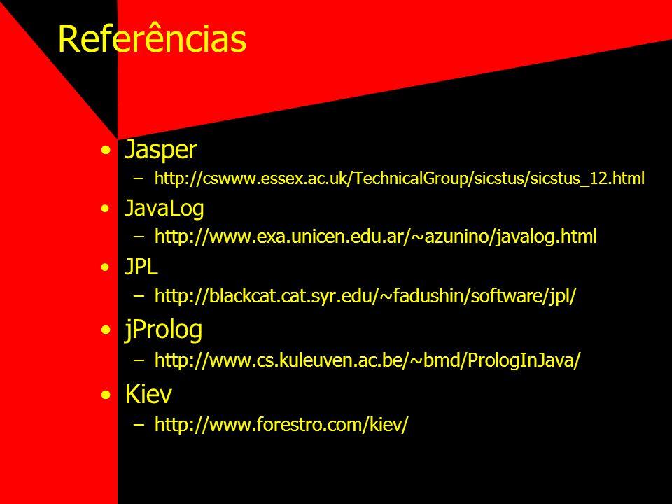 Referências Jasper –http://cswww.essex.ac.uk/TechnicalGroup/sicstus/sicstus_12.html JavaLog –http://www.exa.unicen.edu.ar/~azunino/javalog.html JPL –h