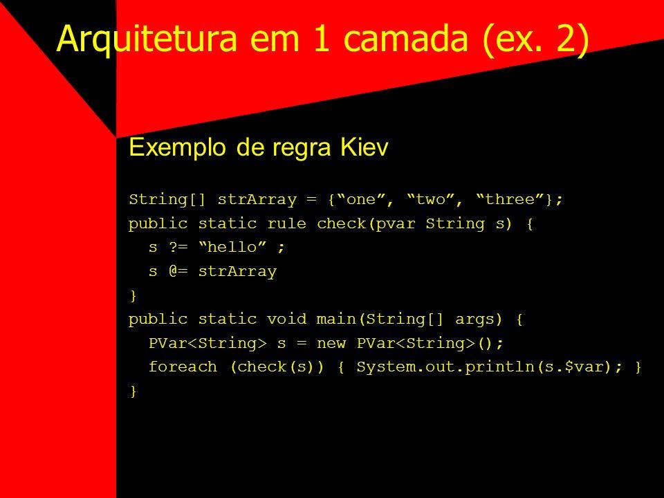 Arquitetura em 1 camada (ex. 2) Exemplo de regra Kiev String[] strArray = {one, two, three}; public static rule check(pvar String s) { s ?= hello ; s