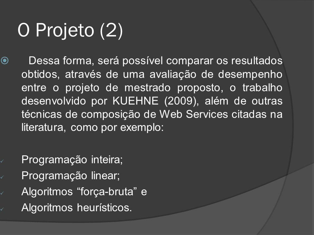 O Projeto (2) Dessa forma, será possível comparar os resultados obtidos, através de uma avaliação de desempenho entre o projeto de mestrado proposto,