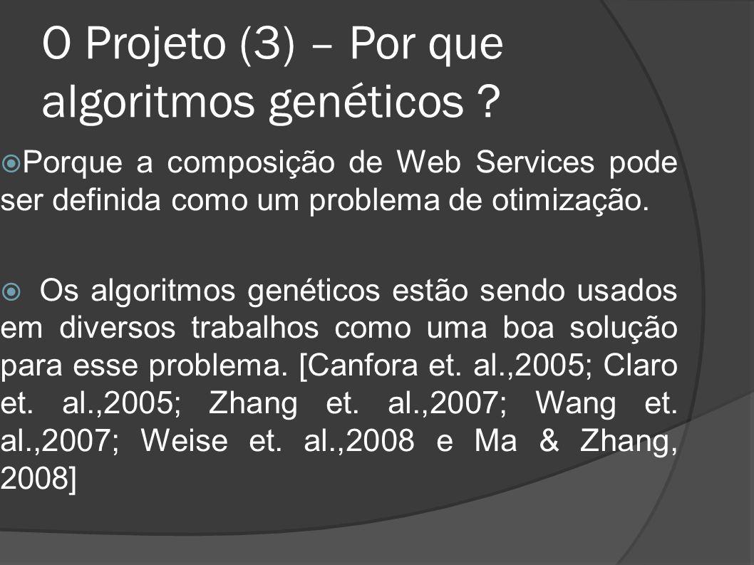 O Projeto (3) – Por que algoritmos genéticos ? Porque a composição de Web Services pode ser definida como um problema de otimização. Os algoritmos gen
