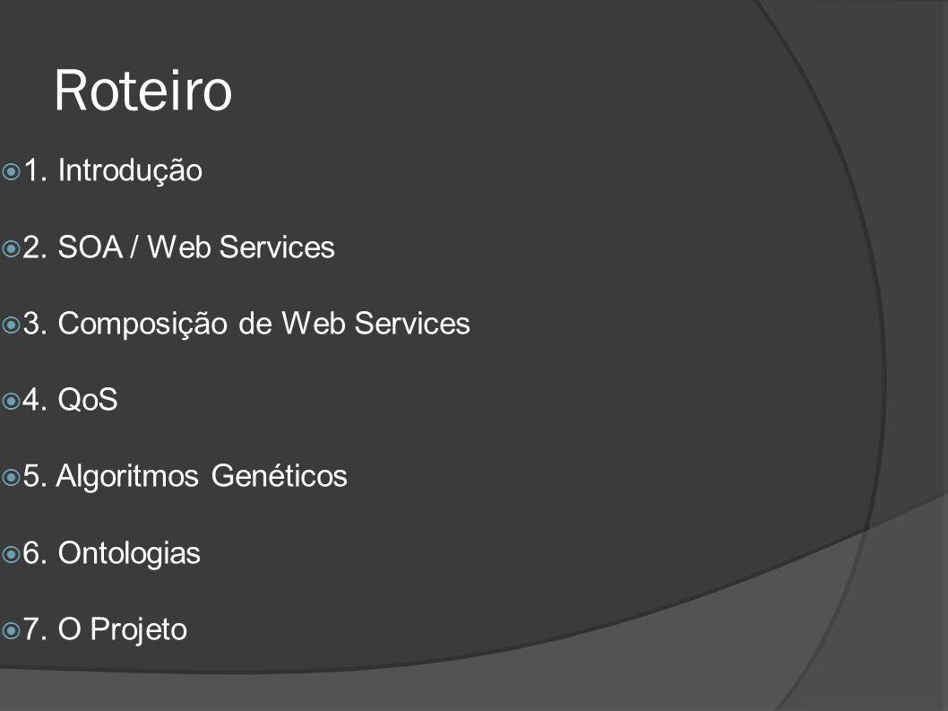 Roteiro 1. Introdução 2. SOA / Web Services 3. Composição de Web Services 4. QoS 5. Algoritmos Genéticos 6. Ontologias 7. O Projeto